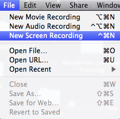 New Screen Recording in QuickTime